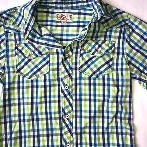 Blue and Green plaid button down